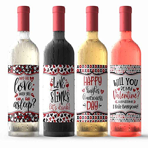 Funny Being Single Themed Anti-Valentine's Day Themed Waterproof Wine Bottle Sticker Wrappers, 4 3.75' x 4.75' Wrap Around Labels by AmandaCreation (WINE NOT INCLUDED)