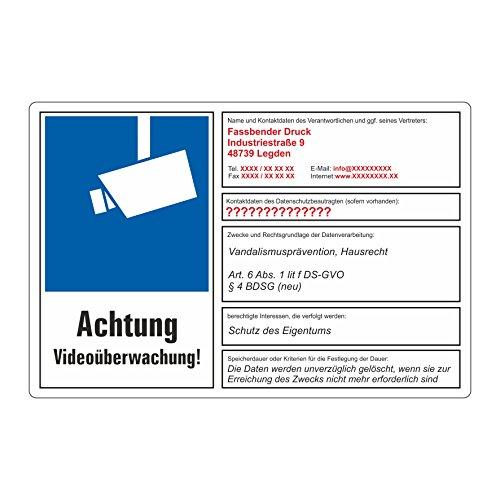 Fassbender-Druck SCHILDER dsgvo BDSG mit Wunschtext - Videoüberwachung Schild/VÜ-014 (30x20cm Schild)