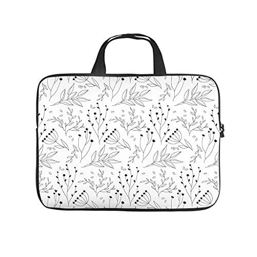 Facbalaign Maletín portátil de alta calidad con asa, diseño de plantas en blanco y negro
