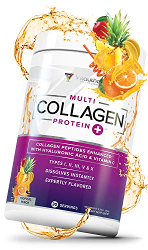 Multi Collagen Peptides Plus Hyaluronic Acid and Vitamin C, Hydrolyzed Collagen Protein, Types I, II, III, V and X Collagen, Tropical Punch, 30 Servings