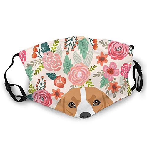 Gesichtsbedeckung Beagle Dog Portrait Florals für Hunderiebhaber Hunderassen von PetFriendly Sports Cover