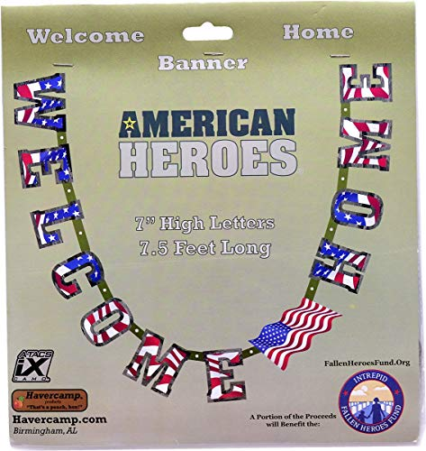 """Havercamp US Army Military Welcome Home Banner with American Flag – Welcome Home Banner Military with Large 7"""" Cardboard Letters, 7.5 Feet Long – Welcome Home Parties & Military Party Supplies"""