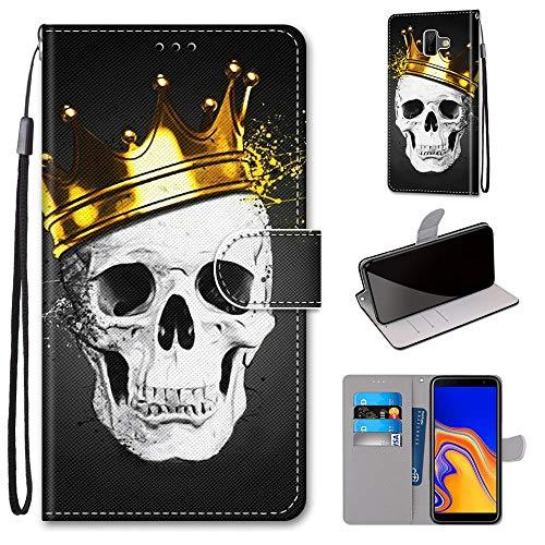 Miagon Flip PU Leder Schutzhülle für Samsung Galaxy J6 Plus,Bunt Muster Hülle Brieftasche Case Cover Ständer mit Kartenfächer Trageschlaufe,Schädel Krone