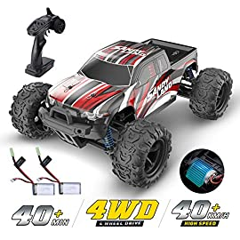 DEERC RC Cars 9300 High Speed Remote Control Car for Kids Adults 1:18 Scale 25+ MPH 4WD Off Road Monster Trucks,2.4GHz… 1 4x4 High Speed Remote Control Car: This 4 wheel drive high speed rc racing car is equipped with high quality and durable components to bring you fantastic driving experience. Its speed limit is up to 40 km/h powered by 380 high speed motor.It is the best choice for any level monster RC trucks enthusiast. 2 Rechargeable Batteries For Extended Running Time: You can enjoy fun of driving for about 40+ mins a time (20+ min for each battery)with this remote contol car which is longer than other high speed remote monster trucks.It is equipped with a high quality battery which is better than normal batteries. Proportional Throttle & Steering Control: Equipped with a 2.4GHz full-scale synchronous remote control system and can proportional controlled to throttle and speed. Very easily! Adjust the speed switch clockwise to increase driving speed, and adjust the speed switch counterclockwise to decrease the driving speed. Adjust the driving direction of the wheels through the steering trim. Please kindly note that the remote indicator light will keep solid when the remote and RC car pair successful.