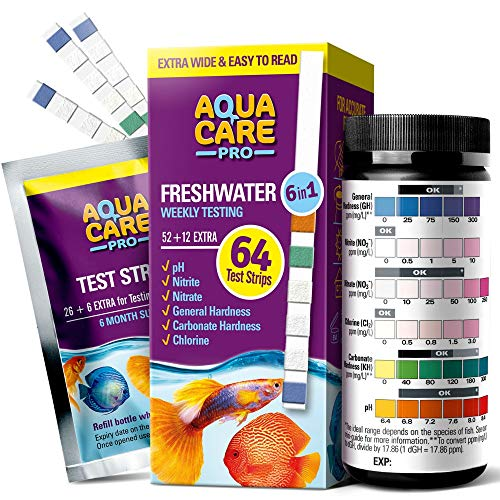 Freshwater Aquarium Test Strips 6 in 1 - Fish Tank Test Kit for Testing pH Nitrite Nitrate Chlorine General & Carbonate Hardness (GH & KH) - Easy to Read Wide Strips & Full Water Testing Guide - 64 Ct