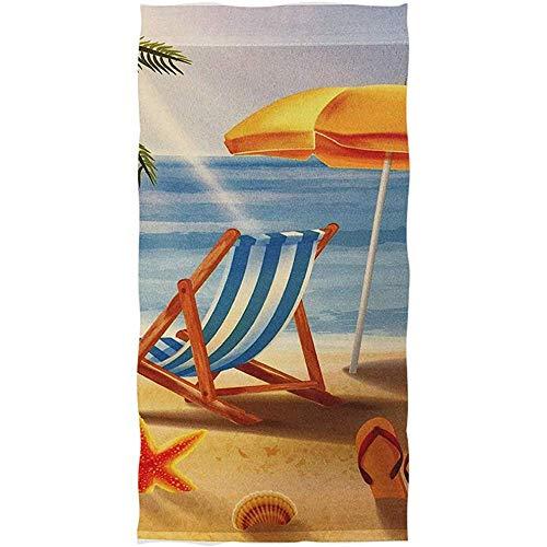 EXking Tropical Beach Sunset Stuhl Flip Flop Starfish Shell Badetücher Ultra Soft Badetuch Mehrzweck Badetuch, Gesicht, Fitnessraum