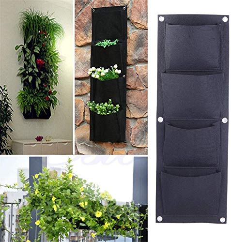 ZCYY Wall Storage Bag, Hanging Flower Bags 4 Pockets Wall Hanging Planter Bags Wall-mounted Growing Bags for Indoor/outdoor (Vertical)