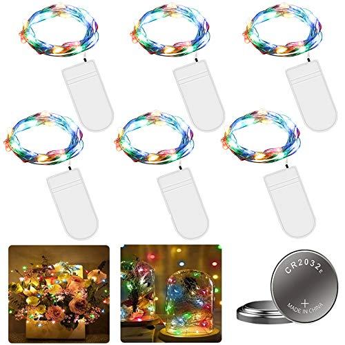 6 Piezas Cadena de Luces con Pilas, 20 LEDs 2M Luces de Cadena Micro Cobre, Alambre de Cobre Guirnaldas Luces, IP65 Impermeable Luces Decorativas para Boda Navidad Hogar Bodas Iluminación DIY