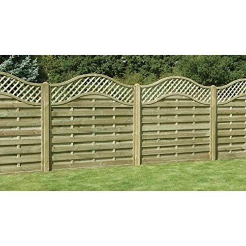 Ruby 6ft Omega Lattice Top Wooden Fence Panel - Various Heights (1.2m x 1.8m)