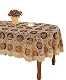 Simhomsen Vintage Burgundy Lace Tablecloth Embroidered Oval 60 × 84 Inch