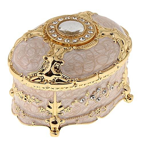 N\C Caja de joyería de metal vintage anillo Joyero caja de almacenamiento de joyería caja de almacenamiento de la joyería caja