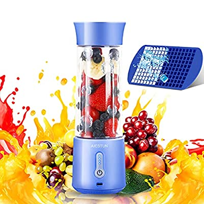 AIESTUN Portable Blender, 17 Oz Personal Blender for Shakes and Smoothies, Mini Blender Type-C 4000mAh Rechargeable Six Blades with Ice Tray Small Blender Sports Travel Gym Single Juicers