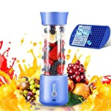 Portable Blender AIESTUN Personal Blender for Shakes and Smoothies 17 Oz Mini Blender 4000mAh USB Type-C Rechargeable Six Blades with Ice Tray Fruit Blender Cup for Kitchen Sports Travel Outdoor