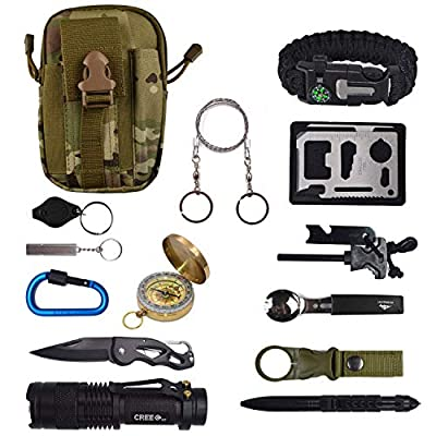 13 in 1 Emergency Survival Gear Kit Tool Outdoor Survival with Carabiner Whistle Tactical Pen Water Bottle Clip Multi-Functional Spoon Fork etc for Travel Hike Field Camp from QCBB