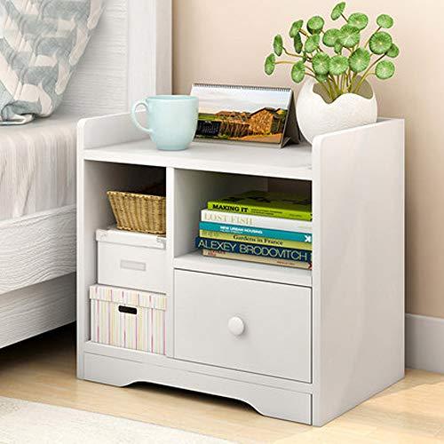 Mesita de noche blanca para almacenamiento, mesa auxiliar con cajón, almacenamiento multiceldas, para salón, dormitorio, 42 x 40 x 25 cm