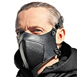 Adjustable Motorcycle Cyber Goth Black Leather Face Masks Pattern for Men Women Sexy Bike Outdoor Steampunk Washable Half-Face Anti-Dust Windproof Breathable Leather Mask for Halloween Cosplay