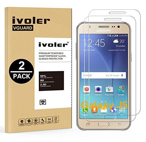 ivoler Kompatibel für Panzerglas Schutzfolie Samsung Galaxy J5 2015 [9H Härte] [Anti- Kratzer] [Bläschenfrei] [2.5D Runde Kante], [2 Stücke]