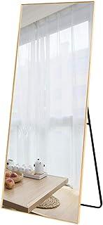 明鏡工房 全身ミラー 姿見鏡 140*50cm アルミフレーム シンプル HD鏡面 スタンド式 壁掛け 立て掛け 3way 飛散防止 現代感 (ゴールド)