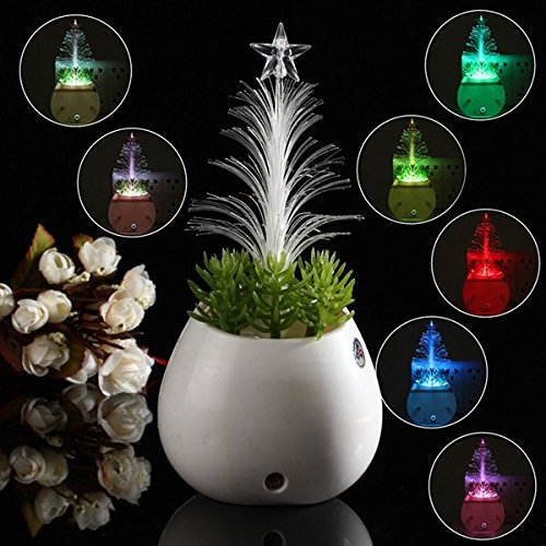 Bazaar LED nuit de détecteur culture de pot d'arbre de Noël claire 110v-240v sept Noël de couleurs