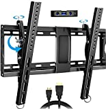 Everstone Adjustable Tilt TV Wall Mount Bracket for Most 32-86 Inch LED,LCD,OLED,Plasma Flat Screen,Curved TVs,Low Profile,Up To VESA 600x400 and 165 lbs,Includes HDMI Cable and Level,Fits 16',18',24'