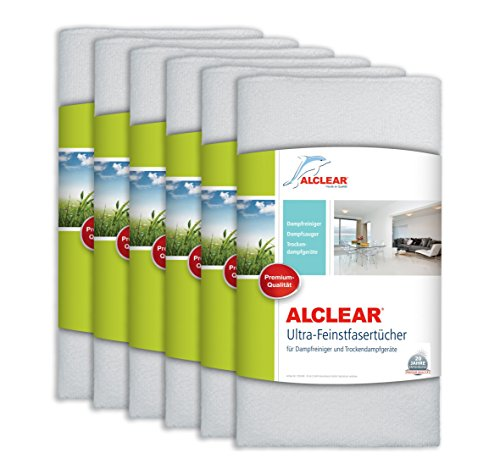 ALCLEAR 955040 Premium Ultra-Microfasertücher für Dampfreiniger von Kärcher, Vapor-Star 50x40 cm, weiß, Bodentuch Tuchset,6er Set