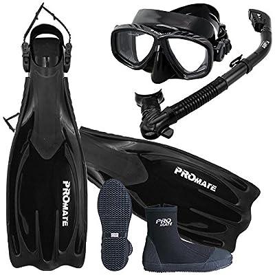 Promate Scuba Dive Fins Boots Dry Snorkel Mask Diving Gear Set/ SCS0063