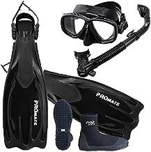 Promate Scuba Dive Fins Boots Dry Snorkel Mask Gear Set, AB, Mens 9 / Womens 10