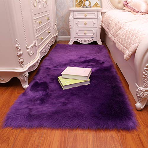 Faux Fur Sheepskin Area Rug, Baby Bedroom Rugs Fluffy Rug Home Decorative Shaggy Rectangle Carpet, 2x3 Feet, Purple