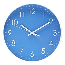 Wall Clock Battery Operated Indoor Non-Ticking Silent Quartz Quiet Sweep Movement Wall Clock for Office,Bathroom,Living Room Decorative 10 Inch Blue