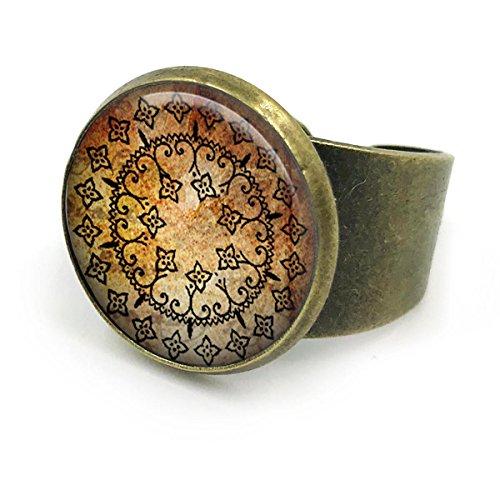 Butterfly N Beez Antike Bronze Yoga Ring| Yoga Ring| Yoga Geschenk| Yoga Mandala Ring| Mandala Schmuck| Mandala Ring| spirituellen Schmuck| Geschenke...