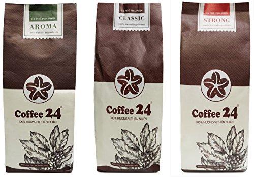 Sonderangebot 3 x 250g Vietnamesischer Kaffee Coffee24 – Organischer Anbau – Drei verschiedene Sorten – Hochwertige Kaffeebohnen – Kaffee Vietnam