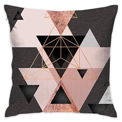 Moily Fayshow Bralla Triángulos geométricos y Fundas de Almohada con diseño de Rosas con Cremallera Oculta, 40 x 40 cm