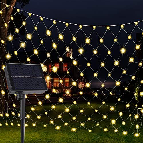 Solar LED Lichternetz 3x2m, Vegena 192 LEDs Lichterkette Netz mit Fernbedienung & Timer 8 Modi Lichterketten für Außen Innen Party Garten Geburstag Hochzeit Balkon Weihnachten Dekoration (Warmweiß)