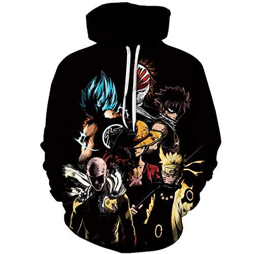 HYCR Naruto - Sudadera con capucha para adultos, diseño de playeras en 3D con anime japonés Naruto, soporte para anime A7-S