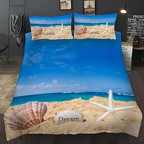 dsgsd Juego de funda nórdica 3D de 3 piezas Océano playa conchas estrellas de mar 220x220cm Juego...
