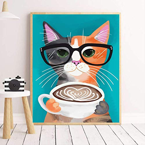 LWJZQT Leinwanddrucke Ölgemälde Cartoon Katze Kaffeetasse Wandkunst Leinwand Malerei Nordic Poster Und Drucke Tier Wandbilder Für Kinderzimmer Dekor 40×60cm