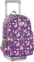 Rolling Backpack 18 inch Double Handle Wheeled Laptop Boys Girls Travel School Children Luggage Toddler Trip, Purple Alpaca