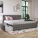 CosmoLiving by Cosmopolitan Elizabeth Upholstered Storage, King, Light Grey Linen Beds, Gray