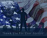 Thank You for Your Service Cards - USA - American Flag - Patriotic - Military - Blank on The Inside - Includes Cards and Envelopes - 5.5' x 4.25' (24 Pack)