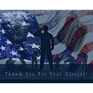 """Thank You for Your Service Cards - USA - American Flag - Patriotic - Military - Blank on The Inside - Includes Cards and Envelopes - 5.5"""" x 4.25"""" (24 Pack)"""