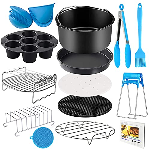 An image of the YINGRACE 8in Hot Air fryer Accessories, 14 pcs Deluxe ninja foodi accessories Set For Air fryer Deep Fryers For Princess Philips Tower Tefal Cosori 4.2L 4.3L 5.5L , No-BPA, Dishwasher Safe
