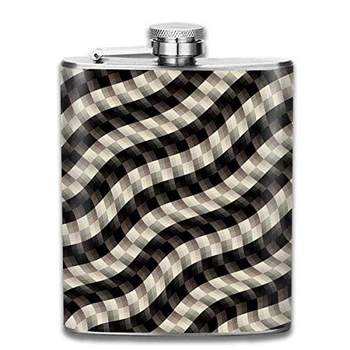 Rundafuwu Flask for Liquor7 Oz Stainless Steel Flask Abstract Plaid Hip Liquor Flask Funny Flask Whiskey Vodka Alcohol Hip Flask for Men Travel Climbing Fishing Camping