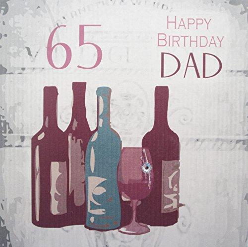 witte katoenen kaarten 65 Gelukkig, Handgemaakte 60e Verjaardagskaart (Vintage Wijn, Papa)