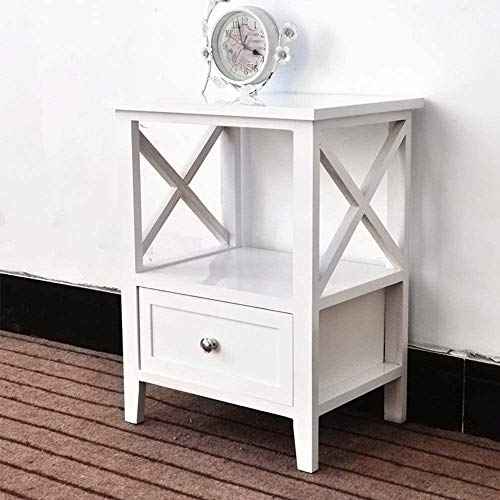 EXQUI Bedside Table with Shelf and Drawer White NightStand for Bedroom Wooden Cabinet Side Table Storage Unit Small Console Table for Living Room, 40x30x52cm, G972W