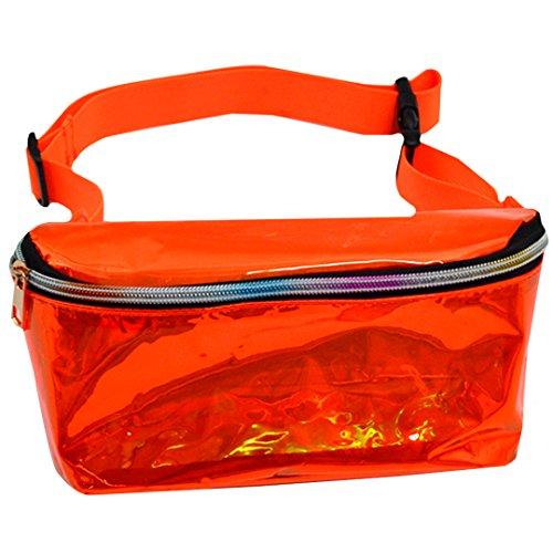 ABBY New Symphony holographic Pockets Corset Femme Métallique Transparent Sacs de plage en PVC Poches de femmes/Orange