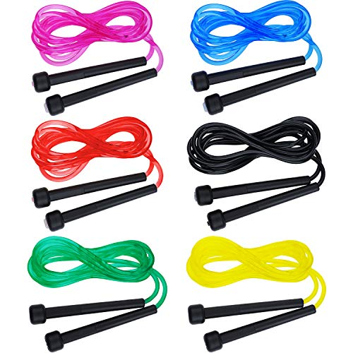 meekoo 6 Pieces 9 ft PVC Jumping Rope Colorful Skipping Jump Rope Versatile Jump Rope for Exercise Fitting Workout, 6 Colors