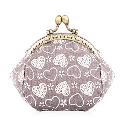Oyachic Kleingeldbörse Heart Coin Purse Kiss-Lock Münzbörse Wallets Münzbeutel Geldbörse Portemonnaie mit Clipverschluss Klickverschluss (Braun)