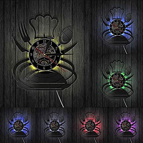 SHILLPS Tenedor Cuchillo y Cuchara Reloj de Pared con Disco de Vinilo Relojes Reloj de Pared de Cocina Reloj de Tiempo Hecho a Mano Comedor Decoración de Pared sin LED
