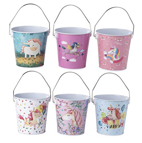 Mini Metal Unicorn Buckets - 6-Pack Colorful Tin Pails with Handles, Assorted Rainbow Unicorn Designs, Small-Sized for The Beach, Party Favors, Easter, Candy, or Garden