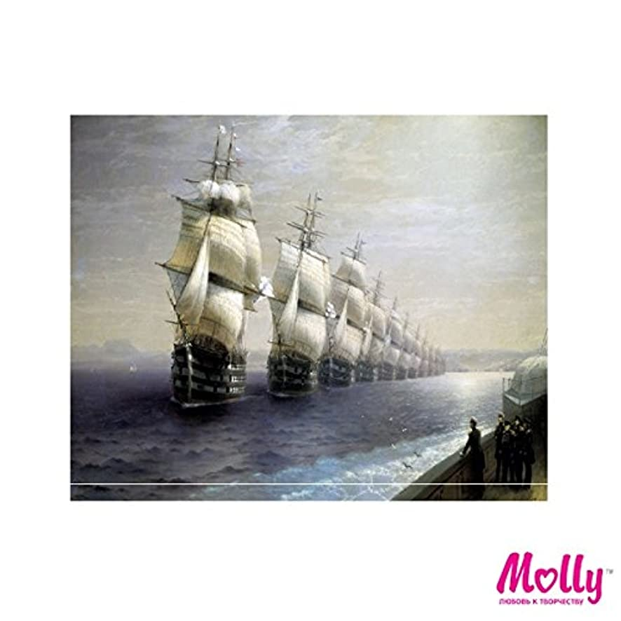 Russian artists series - Ivan Aivazovsky - Review of the Black Sea Fleet (1848) - Painting By Numbers by MOLLYS 16 x 20 inches 25 Colors with Wooden Frame 3945
